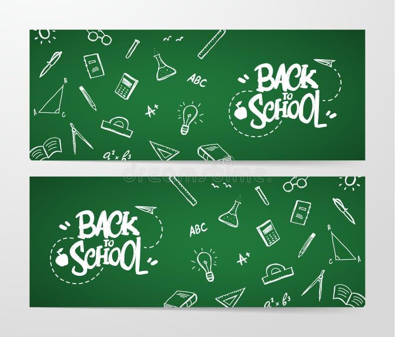 Bannière deux avec l'inscription de nouveau derrière l'école et des approvisionnements de griffonnages sur le fond de tableau noi illustration de vecteur