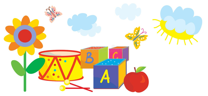 Bannière drôle pour des enfants et jardin d'enfants avec des jouets illustration stock