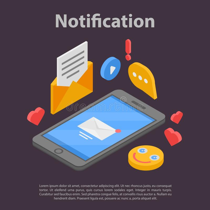 Bannière du concept de notification Smartphone, style isométrique illustration stock