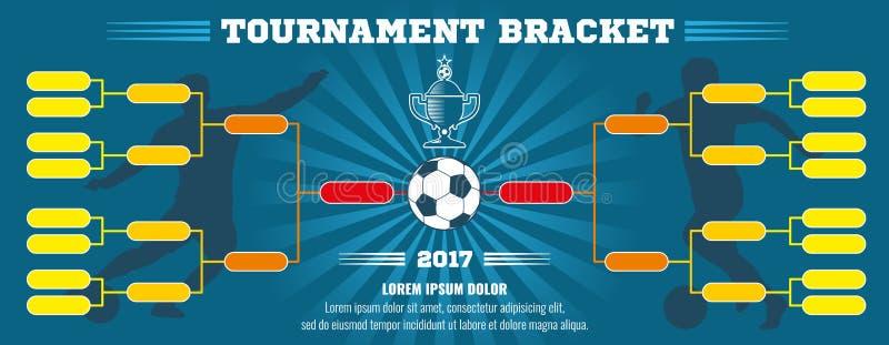 Bannière du football, parenthèse européenne de tournoi du football avec la boule Descripteur de vecteur illustration de vecteur