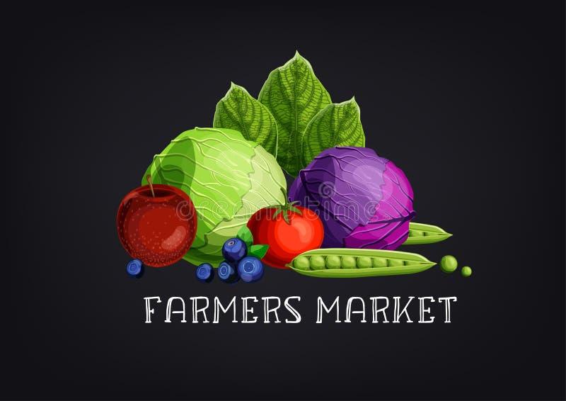 Bannière du marché d'agriculteurs avec les fruits et légumes et le texte colorés sur le fond noir de tableau illustration de vecteur