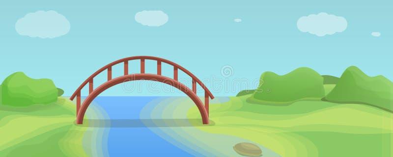 Bannière en bois de concept de pont de rivière, style de bande dessinée illustration stock
