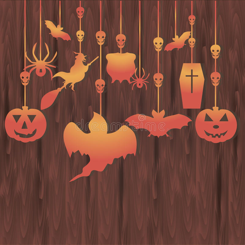 Bannière en bois de Halloween illustration stock