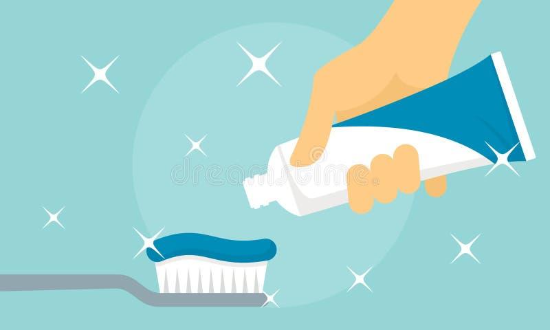 Bannière en bon état de pâte dentifrice, style plat illustration de vecteur