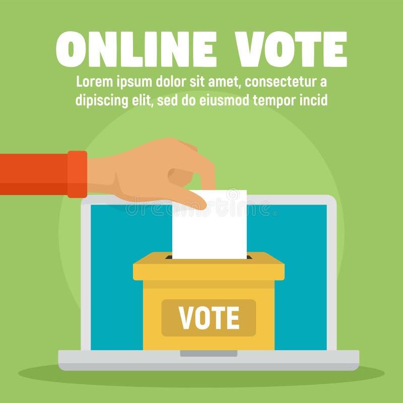 Bannière en ligne de concept d'urne de vote, style plat illustration de vecteur