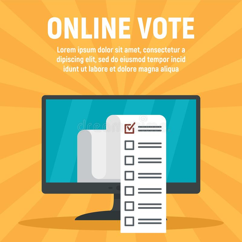 Bannière en ligne de concept de vote d'ordinateur, style plat illustration stock