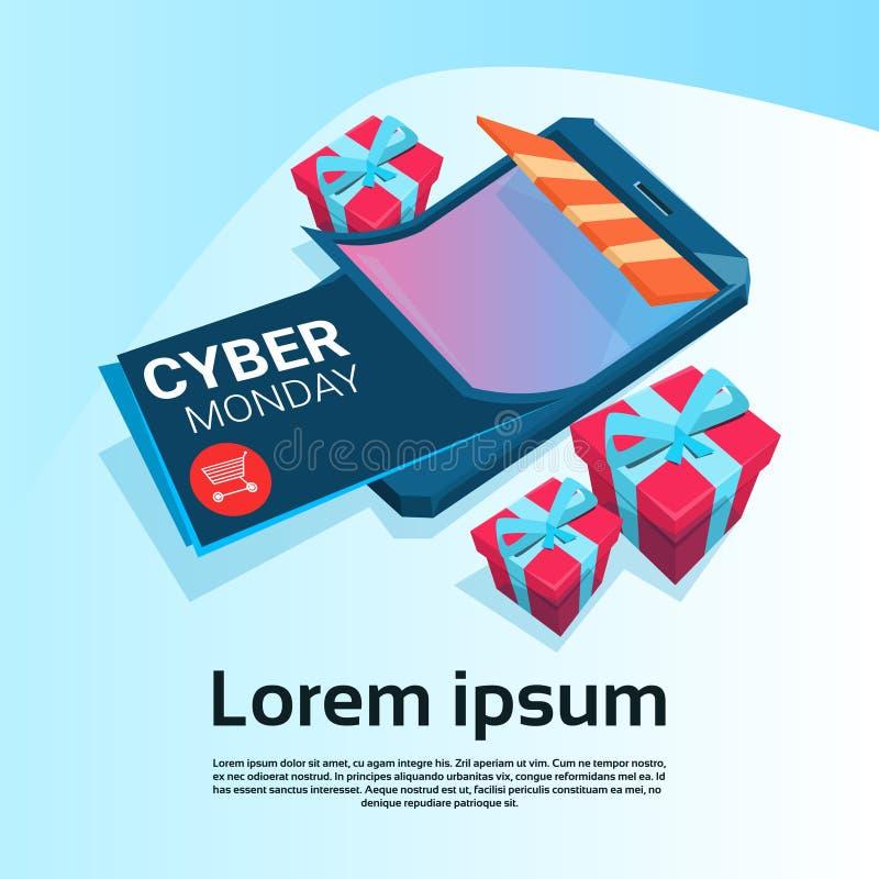 Bannière en ligne de promo de vacances d'achats de grande vente de lundi de Cyber illustration libre de droits