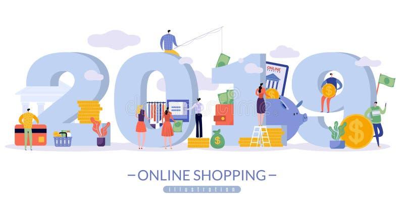 Bannière en ligne de ventes avec l'image de 2019 dans les gros caractères illustration libre de droits
