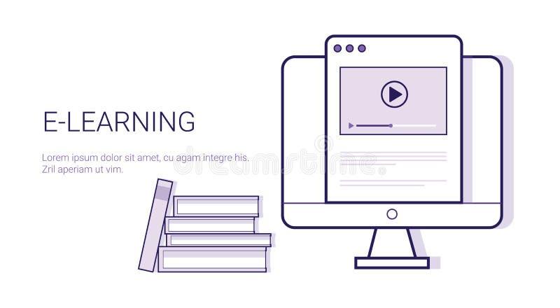 Bannière en ligne de Web de calibre d'éducation d'Elearning de concept d'affaires de Learing avec l'espace de copie illustration de vecteur