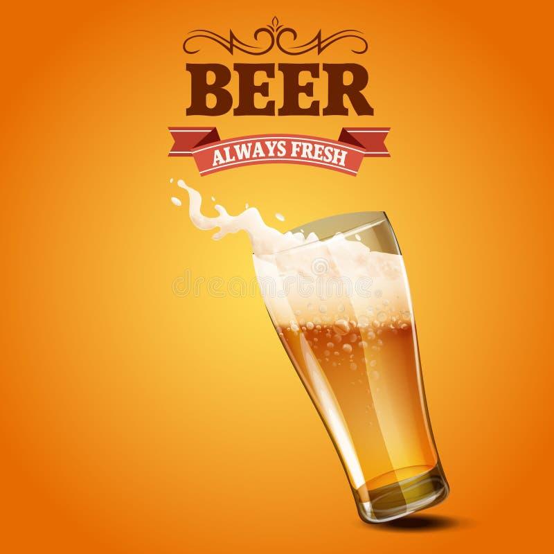 Bannière en verre de menu de bière illustration stock