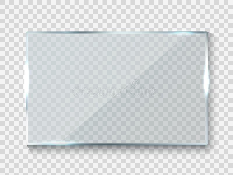 Banni?re en verre se refl?tante Texture de panneau de la r?flexion 3d de rectangle de lustre ou fen?tre claire sur le vecteur tra illustration libre de droits