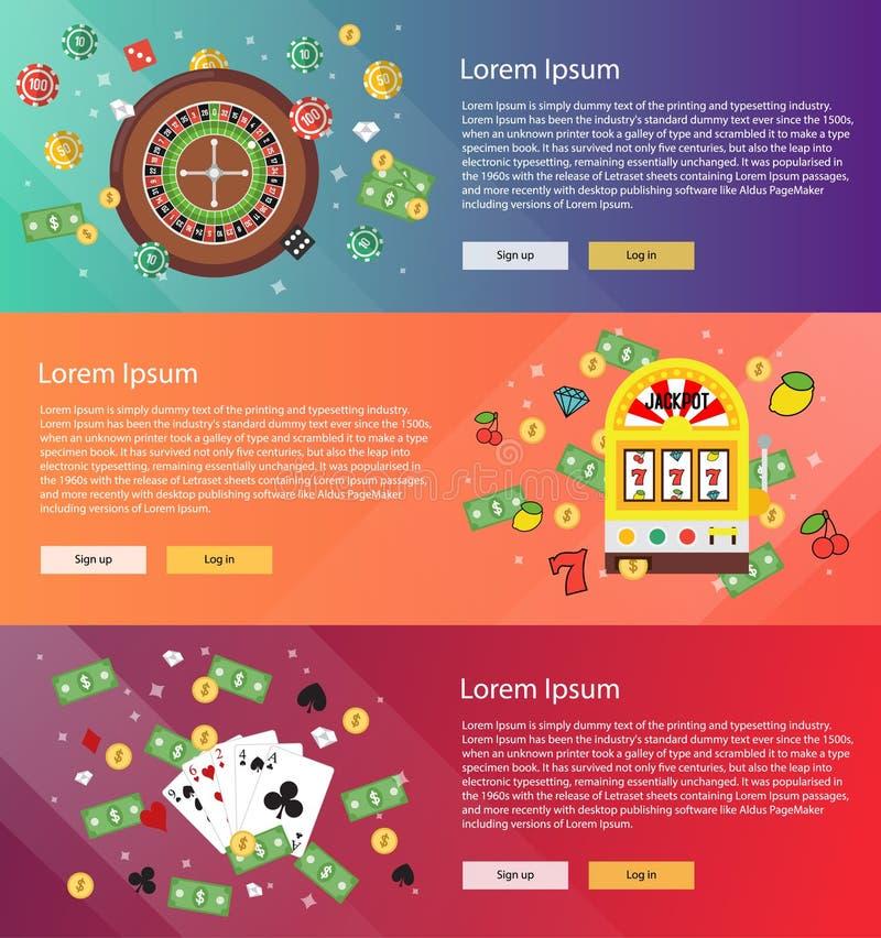 Bannière - ensemble plat de casino illustration stock