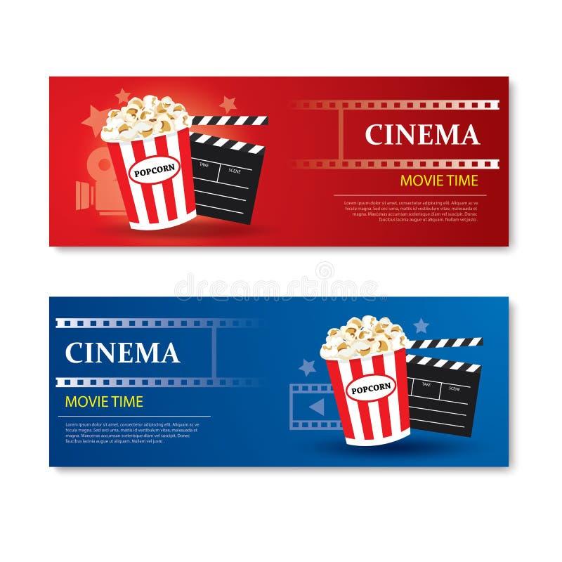 Bannière et bon heure de projection du film Conception d'élément de calibre de cinéma illustration stock