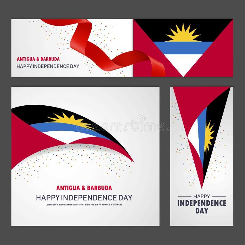 Bannière et fond heureux de Jour de la Déclaration d'Indépendance de l'Antigua-et-Barbuda illustration libre de droits