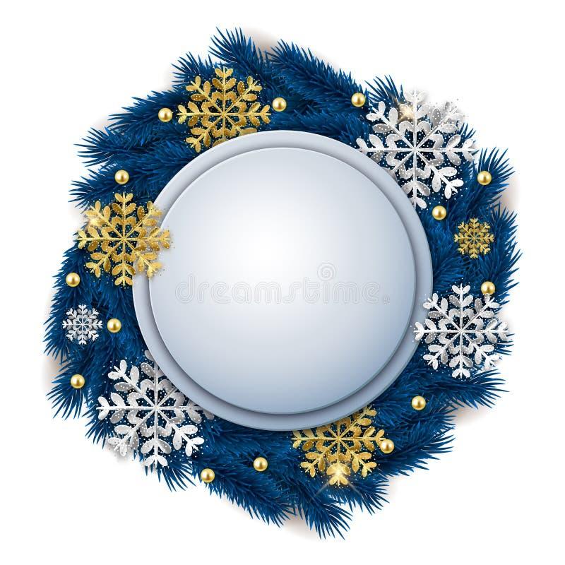Bannière fleurie de Noël rond vide avec la guirlande et le gli d'arbre de sapin illustration libre de droits