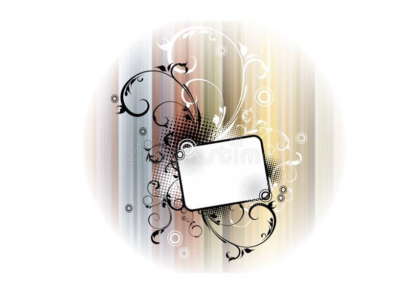 Bannière florale blanche noire illustration libre de droits