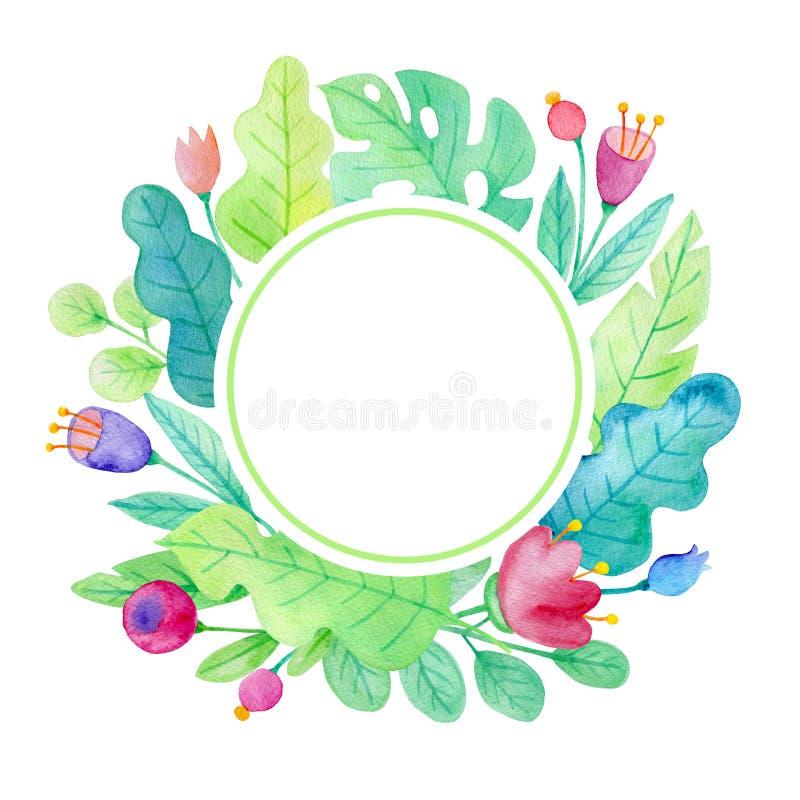 Bannière florale d'aquarelle ronde avec les feuilles vertes illustration stock