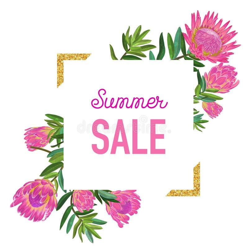 Bannière florale de vente d'été avec le cadre d'or illustration stock