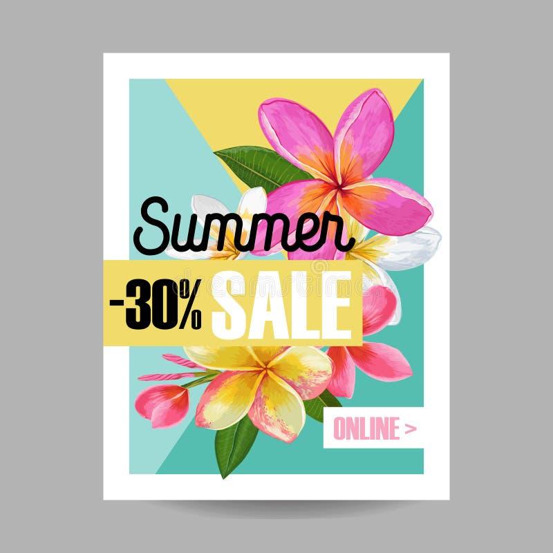 Bannière florale de vente d'été La publicité saisonnière de remise avec les fleurs roses de Plumeria Ressort tropical de paradis illustration libre de droits