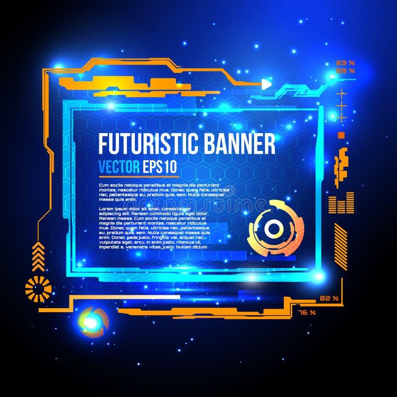 Bannière futuriste de la science fiction, fond de technologie, interface, HUD, vecteur illustration libre de droits