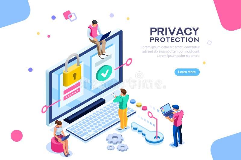 Bannière générale de confidentialité de protection des données illustration de vecteur