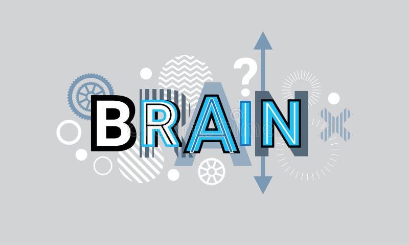 Bannière géométrique abstraite de Web de fond de formes de Brain Thinking Creative Word Over illustration stock