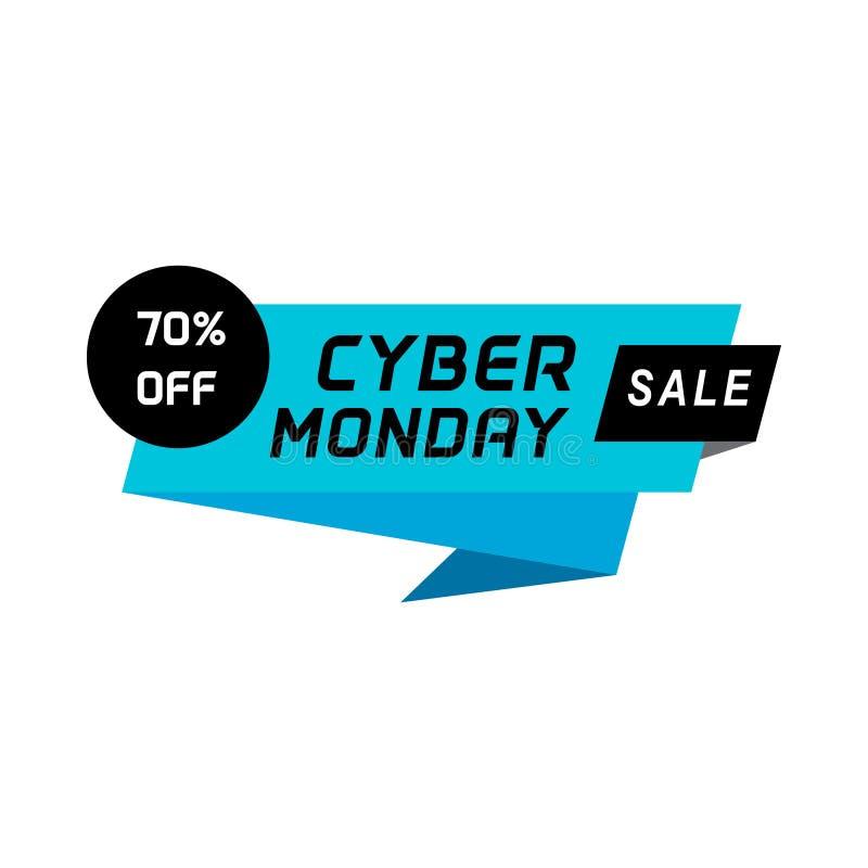 Bannière géométrique de vente de lundi de Cyber Élément de bannière de vente pour la bannière de Web ou d'impression, insecte, br illustration stock