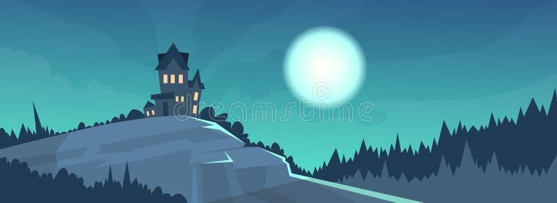 Bannière gothique de vacances de Halloween de clair de lune de nuit de vue de château illustration stock
