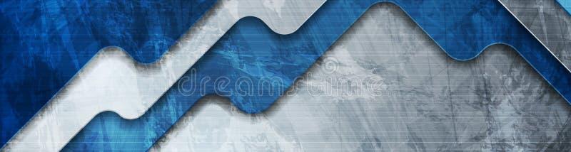 Bannière grunge d'entreprise de technologie bleue abstraite illustration de vecteur