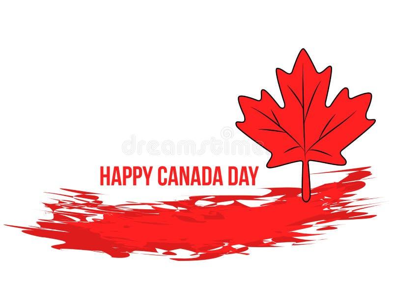 Bannière grunge de jour de Canada avec la feuille d'érable rouge illustration stock