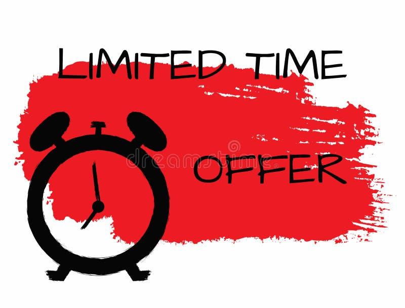 Bannière grunge horizontale avec l'offre de temps limité de course, d'horloge et de textes de brosse d'aquarelle illustration de vecteur