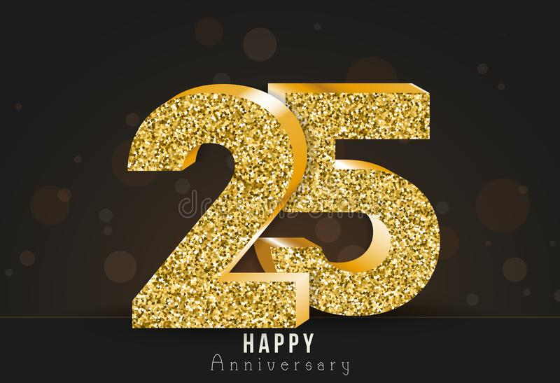 20 - bannière heureuse d'anniversaire d'année 20ème logo d'or d'anniversaire sur le fond foncé illustration stock