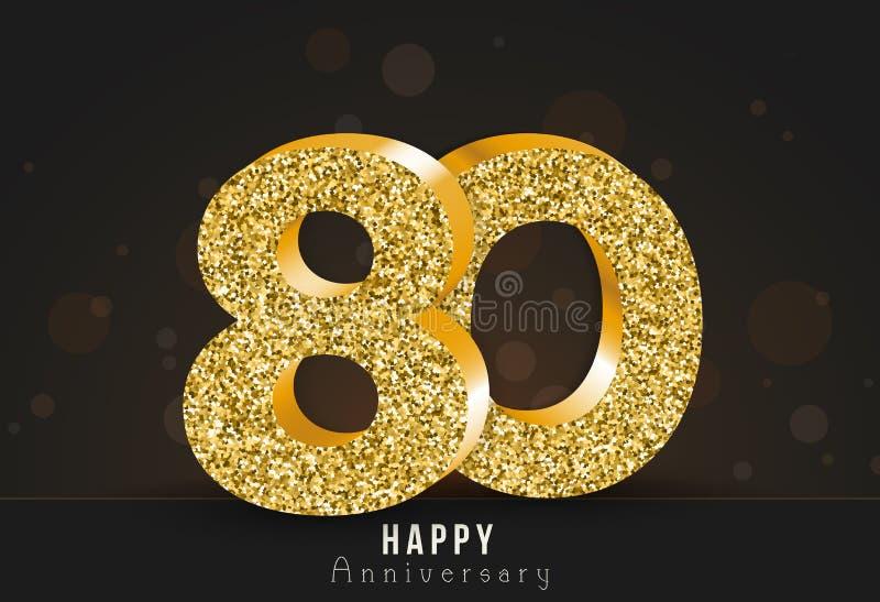 20 - bannière heureuse d'anniversaire d'année 20ème logo d'or d'anniversaire sur le fond foncé illustration de vecteur