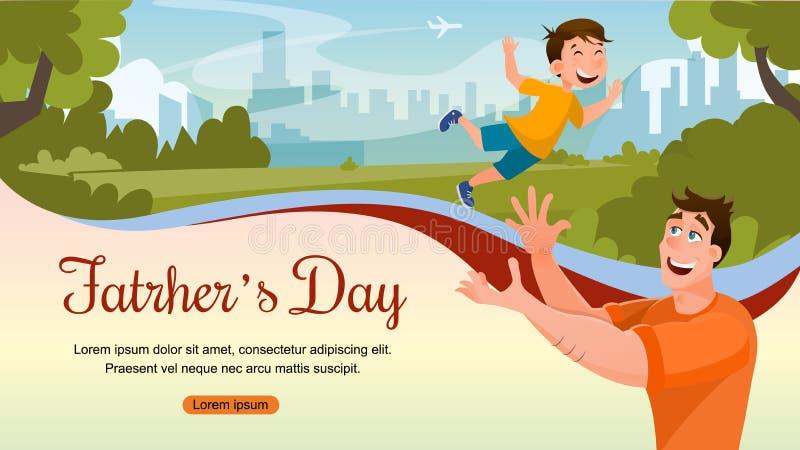 Bannière heureuse de célébration d'événement de famille de jour de pères illustration libre de droits