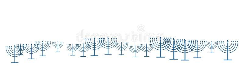 Bannière heureuse de calibre de Hanoucca comme modèle de répétition de menorah simple de Hanoucca d'ensemble avec les bougies brû illustration de vecteur