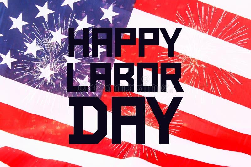Bannière heureuse de Fête du travail, fond patriotique américain, texte sur le drapeau des Etats-Unis d'Amérique images stock