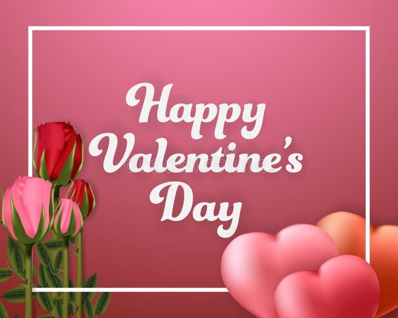 Bannière heureuse de fond de Saint-Valentin avec des ballons et des roses de coeur illustration de vecteur