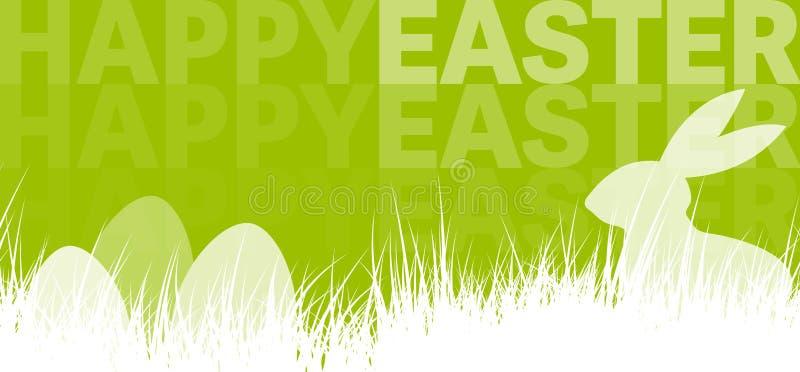 Bannière heureuse de fond de vacances de Pâques avec la silhouette du lapin et des oeufs de Pâques derrière l'herbe illustration libre de droits