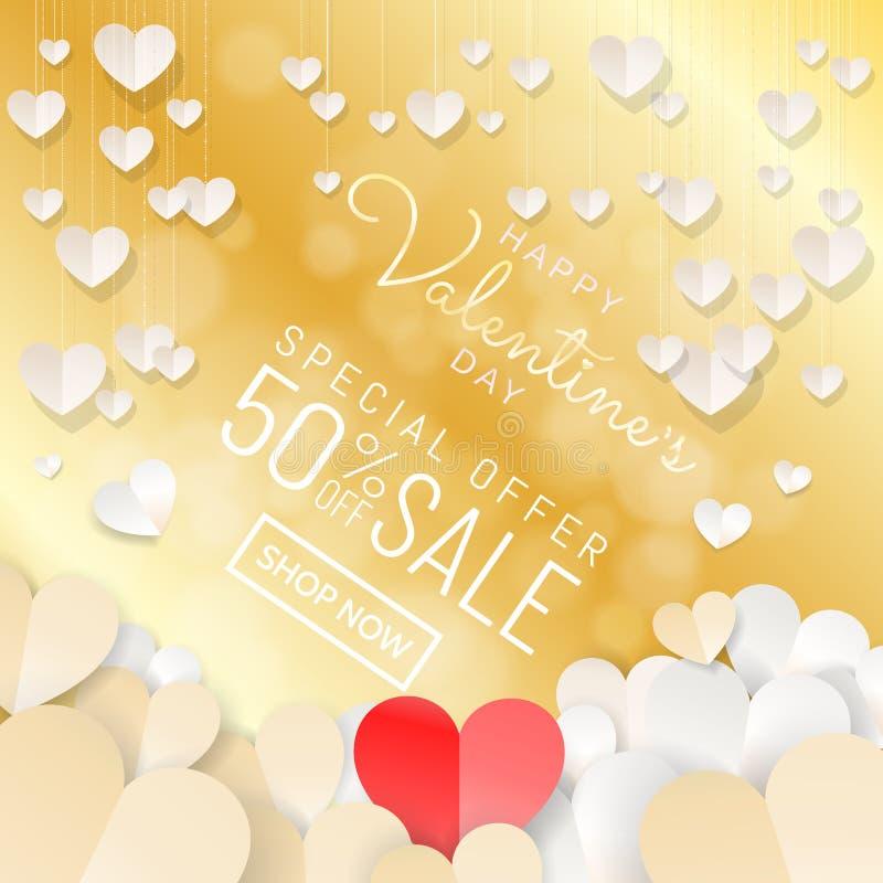 Bannière heureuse de fond de vente de Saint-Valentin avec les coeurs accrochants de coupe de papier dans la couleur d'or blanc illustration libre de droits