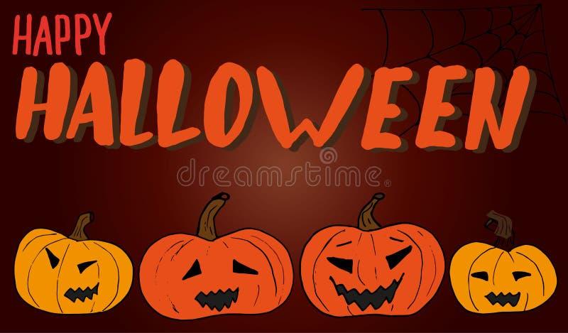 Bannière heureuse de Halloween sur un fond orange-foncé avec différents potirons découpés illustration de griffonnage pour des af illustration libre de droits