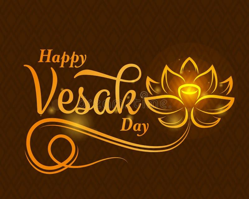 Banni?re heureuse de jour de vesak avec le signe abstrait de fleur de lotus d'or et texte de typographie sur la conception brune  illustration de vecteur