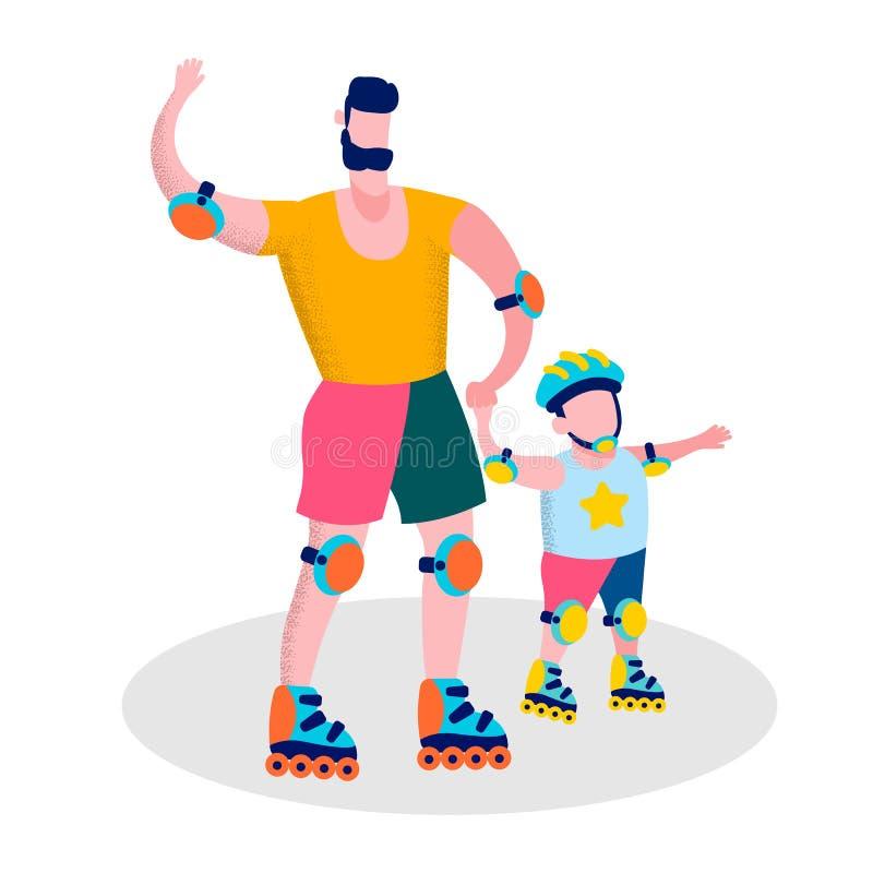 Bannière heureuse de récréation de sport de famille de jour de pères illustration libre de droits