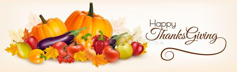 Bannière heureuse de thanksgiving avec des légumes d'automne illustration de vecteur