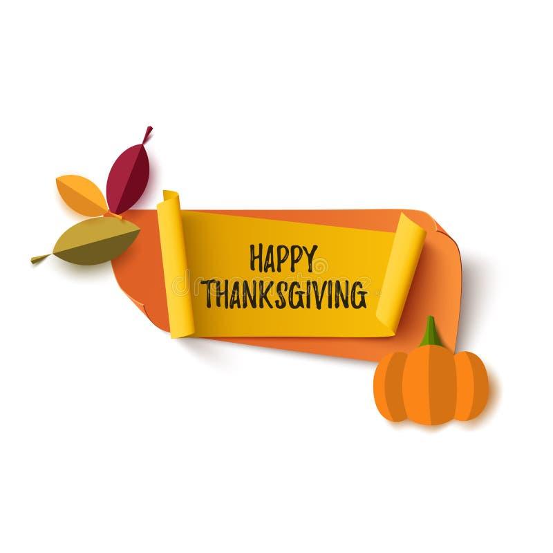 Bannière heureuse de thanksgiving d'isolement sur le blanc illustration stock