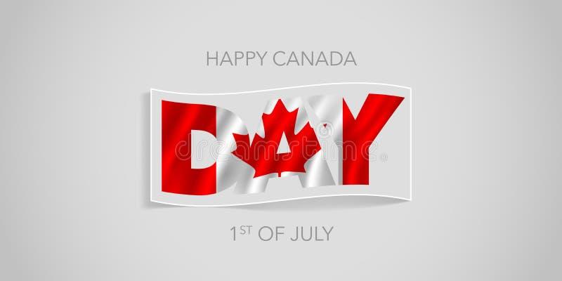 Bannière heureuse de vecteur de jour du Canada, carte de voeux Drapeau onduleux canadien illustration libre de droits