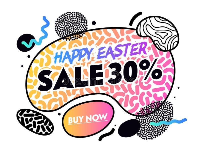 Bannière heureuse de vente de Pâques avec des formes, des éléments et des lignes abstraits de gradient sur le fond blanc Achats d illustration stock