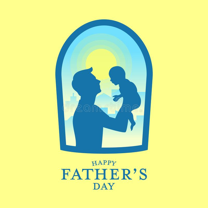 Bannière heureuse du jour de père avec le père de silhouette portant un bébé dans la vue de fenêtre et la conception jaune de vec illustration de vecteur