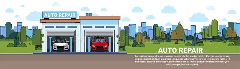 Bannière horizontale automatique d'atelier de véhicule de Mechnic de garage de service des réparations avec l'espace de copie illustration de vecteur