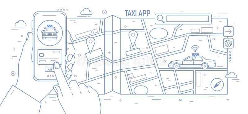 Bannière horizontale avec des mains jugeant le smartphone, la carte de ville et la voiture de taxi dessinés avec des courbes de n illustration stock