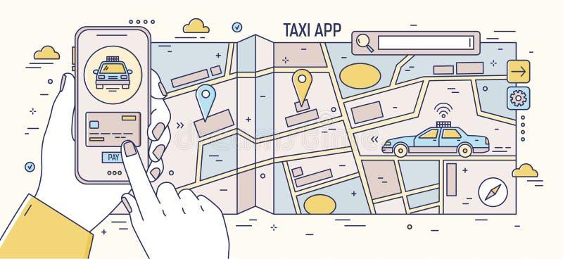 Bannière horizontale avec des mains tenant le téléphone portable, la carte de papier de ville, la boîte de recherche et la condui illustration stock